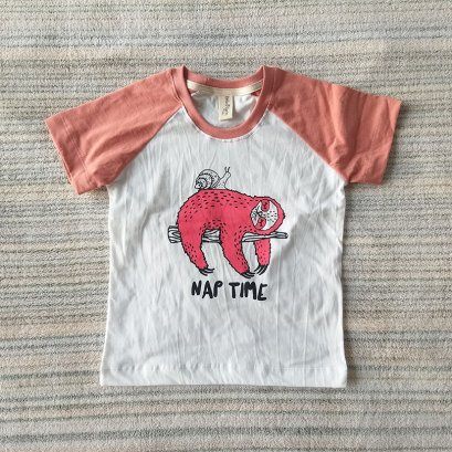 RAGLAN TEE NAP TIME 100% COTTON IVORY & DARK PEACH