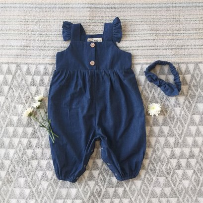 FLUTTER SLEEVES JUMPSUIT 100% COTTON DENIM INDIGO