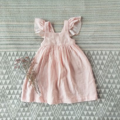 FLUTTER SLEEVES ELASTIC BACK DRESS 100% COTTON SWEET PINK