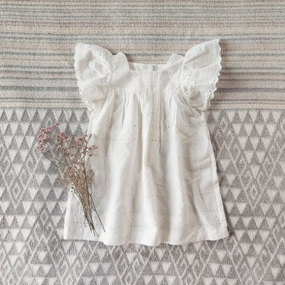 BUTTERFLY SLEEVES DRESS 100%EYELET COTTON IVORY