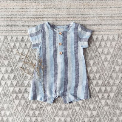 BOYS & GIRLS  ROMPER 100% LINEN BLUE STRIPED