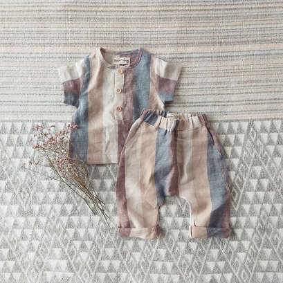 BOYS & GIRLS / SET  SHIRTS & PANTS 100% LINEN KHAKI STRIPED