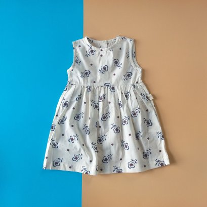 IVORY FLORA BUTTONS BACK DRESS / PRINTED COTTON
