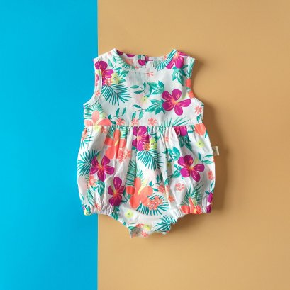 GIRLS BUTTONS BACK TROPICAL GARDEN ROMPER /  PRINTED COTTON