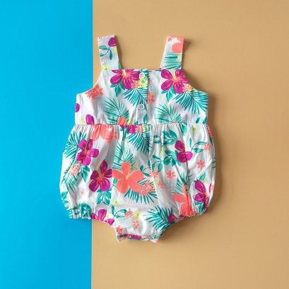 GIRLS BUTTONS FRONT TROPICAL GARDEN ROMPER /  PRINTED COTTON