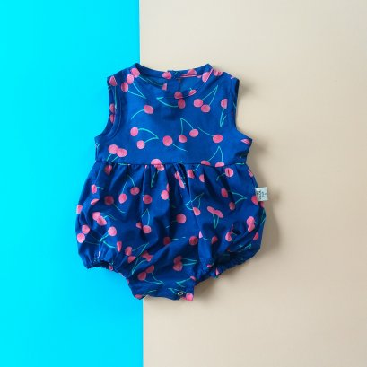 GIRLS BUTTONS BACK CHERRY ROMPER / PRINTED COTTON