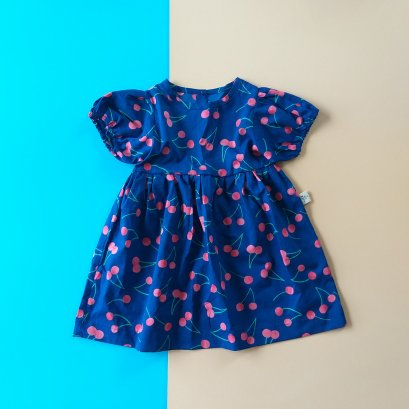 BLUE CHERRY PUFF SLEEVES DRESS / PRINTED COTTON