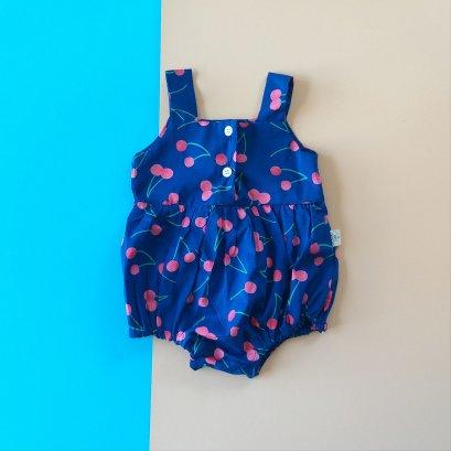 BLUE CHERRY ROMPER  /  PRINTED COTTON