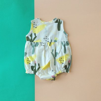 CACTUS BUTTONS BACK ROMPER / 100% PRINTED COTTON