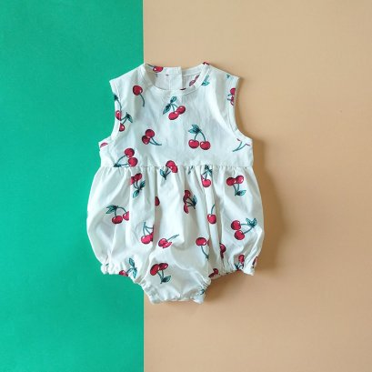 CHERRY BUTTONS BACK ROMPER / 100% PRINTED COTTON