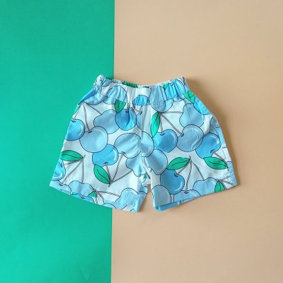 BOYS & GIRLS BLUE CHERRY ELASTIC WAISTBAND SHORTS / 100% PRINTED COTTON