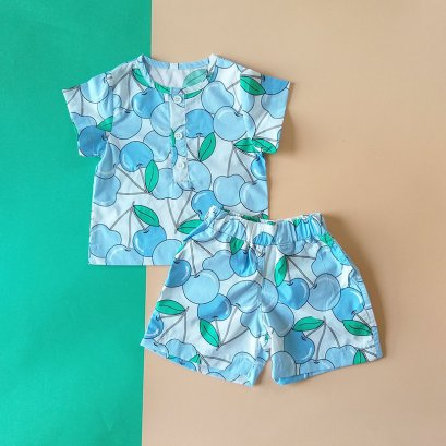 BOYS & GIRLS BLUE CHEERY SET SHIRTS & SORTS / 100% PRINTED COTTON