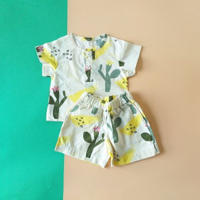 BOYS & GIRLS CACTUSSET SHIRTS & SORTS / 100% PRINTED COTTON