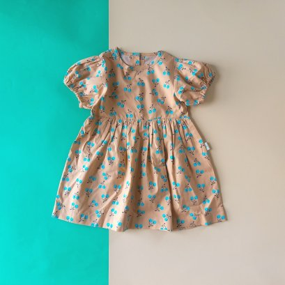 PUFF SLEEVES BLUE CHERRY BUTTONS BACK DRESS / 100% PRINTED COTTON