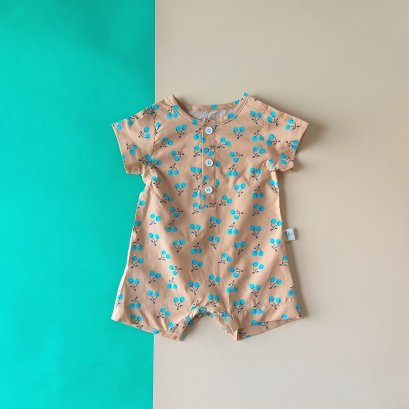 BOYS & GIRLS BLUE CHERRY KNEES ROMPER / 100% PRINTED COTTON