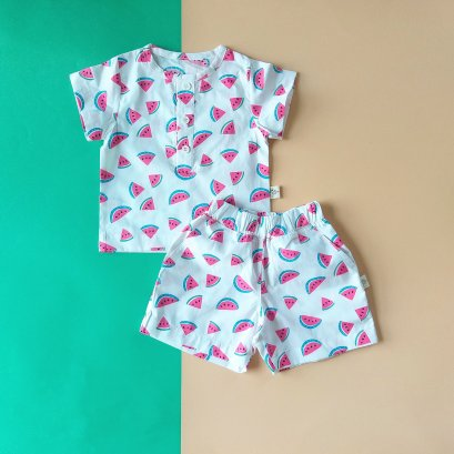 BOYS & GIRLS WATERMELON SET SHIRTS & SORTS / 100% PRINTED COTTON