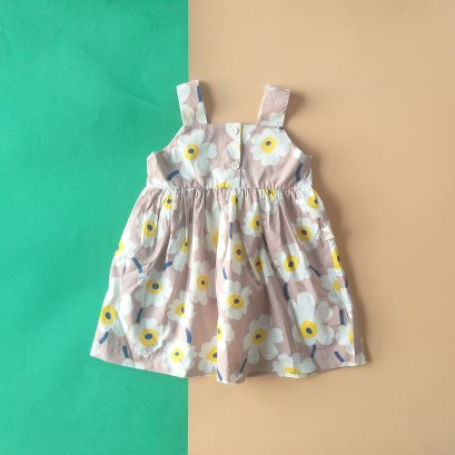 FLOWER DRESS BACK TO FRONT  / 100% PRINTED COTTON
