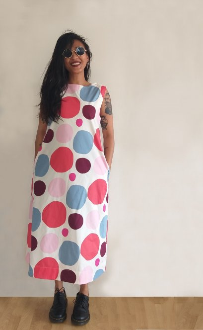 WOMENS A LINE MAXI DRESS WITH SIDE POCKET 100% PRINTED COTTON