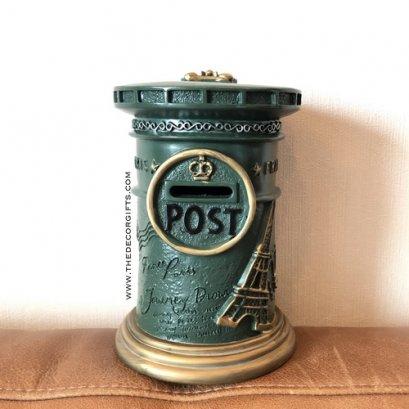 กระปุกออมสิน ตู้จดหมายไปรษณีย์โบราณ (สีเขียว)