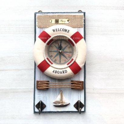นาฬิกาห่วงชูชีพ + ขอแขวน (แดง) แนวทะเล