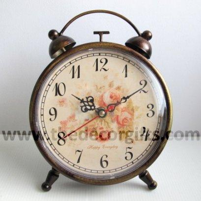 นาฬิกาโลหะตั้งโต๊ะ ทรงนาฬิกาปลุกสีบรอนซ์ สไตล์วินเทจ