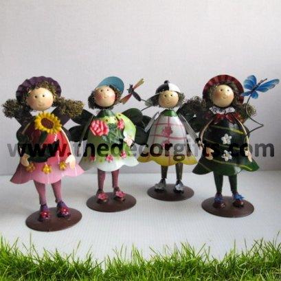 ตุ๊กตาสังกะสี เด็กหญิงชายปีกใบไม้ผีเสื้อ (4 ตัว) ขนาดกลาง
