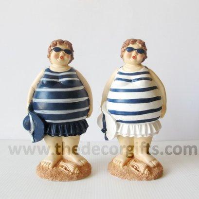 ตุ๊กตาเรซิ่น สาวอ้วนชุดริ้วยืน แนวทะเล (2 ตัว)