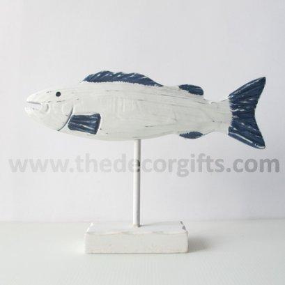 ปลาไม้แกะสลัก (ตัวยาว) แนวทะเล