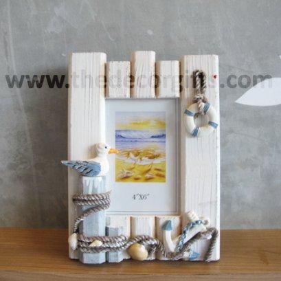 กรอบรูปไม้ตั้งโต๊ะ แนวทะเล (นกเกาะขอนไม้)