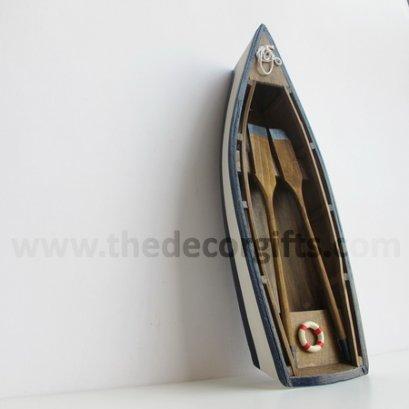 เรือพายจำลอง (M) สีไม้ งานไม้ แนวทะเล (น้ำเงิน)