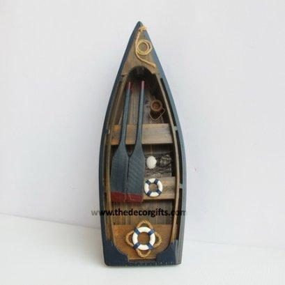 เรือพายไม้จำลอง (S) ตกแต่งจับปลา แนวทะเล (น้ำเงิน)