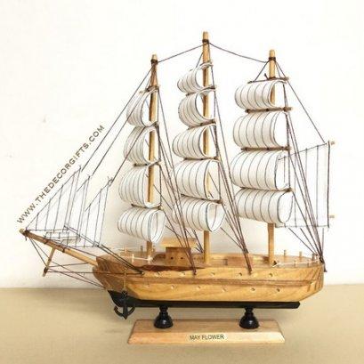 เรือใบ เรือสำเภาจำลอง งานไม้ประดิษฐ์ แนวทะเล (Size L) Vol. 3 ลาย F
