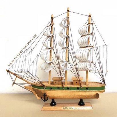 เรือใบ เรือสำเภาจำลอง งานไม้ประดิษฐ์ แนวทะเล (Size L) Vol. 3 ลาย E