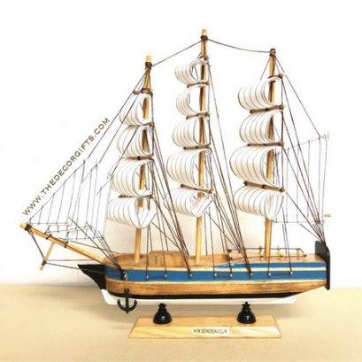 เรือใบ เรือสำเภาจำลอง งานไม้ประดิษฐ์ แนวทะเล (Size L) Vol.3 ลาย B