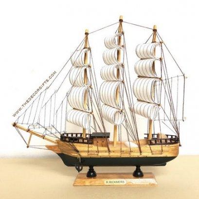 เรือใบ เรือสำเภาจำลอง งานไม้ประดิษฐ์ แนวทะเล (Size L) Vol. 3 ลาย C