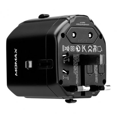 Momax 1-World Mini Ac Travel Adapter (Black)