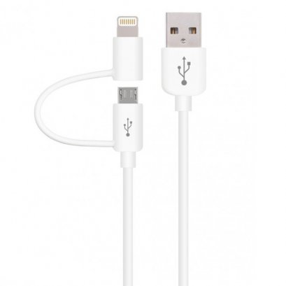 Devia Smart 2 IN 1 Micro USB & Lightning Cable 1M (White)