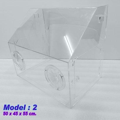 กล่องอะคริลิคกันละอองฟุ้งกระจายโควิด-19 Model:1