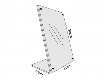 Acrylic L-Stand on Desktop with Magnetic  Size A4