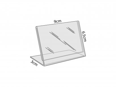 Acrylic L-Stand Desk size 9x6.5 cm. 2 mm thick.
