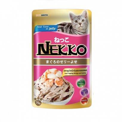 อาหารแมวเน็กโกะ เพาซ์ 70 ก.ทูน่าในเยลลี่หน้ากุ้งและหอยเชลล์