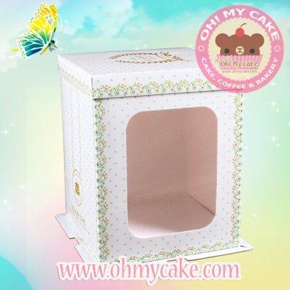 กล่องเค้กทรงสูงสีขาว