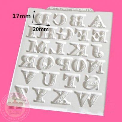 แม่พิมพ์ซิลิโคน A-Z มีลวดลายบนตัวอักษร