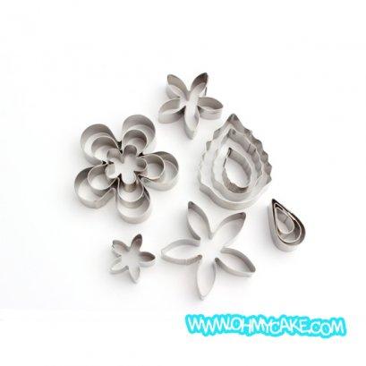 ตัวตัดสแตนเลสเซตดอกไม้ใบไม้