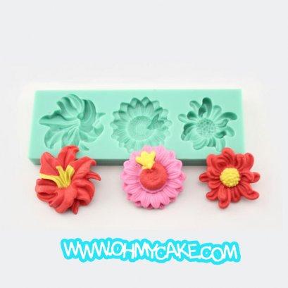 แม่พิมพ์ซิลิโคนรูปดอกไม้ 3 แบบ