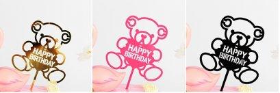 ป้าย Happy Birthday อะคริลิครูปหมี