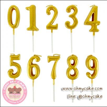 เทียนตัวเลขสีทอง