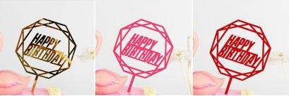 ป้าย Happy Birthday อะคริลิคทรงแปดเหลี่ยม