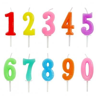 เทียนตัวเลขสีพาสเทล