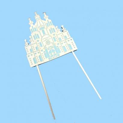ป้ายHBDกระดาษปราสาทขาว-ฟ้า (1 แพค 10 ชิ้น)